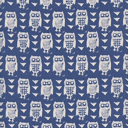 Hooties in Blue UNBLEACHED QUILTING COTTON