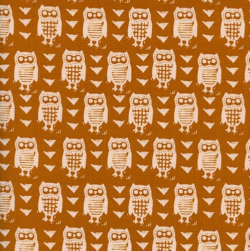 Hooties in Earth UNBLEACHED QUILTING COTTON