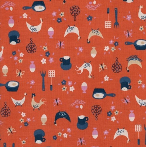 Kitchen Kitsch in Sweet Orange UNBLEACHED COTTON