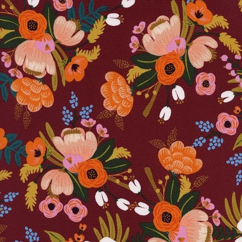 Lively Floral in Burgundy RAYON