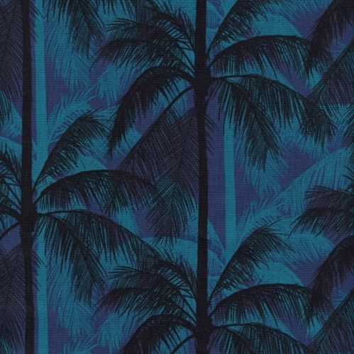 Palms in Blue UNBLEACHED COTTON