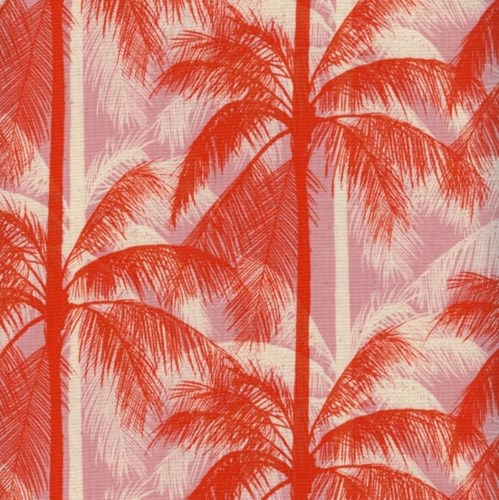 Palms in Pink UNBLEACHED COTTON