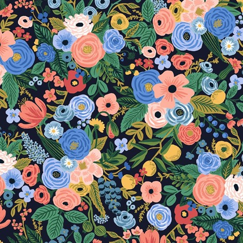 Petite Garden Party in Navy Rayon