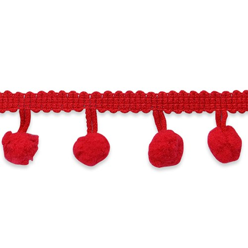 Pom Fringe Trim in Red One Yard