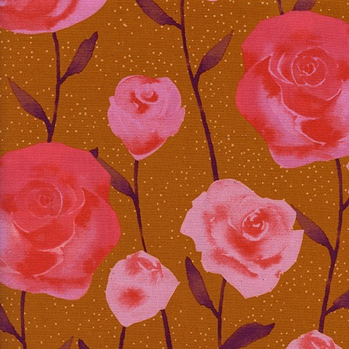 Roses in Caramel UNBLEACHED QUILTING COTTON