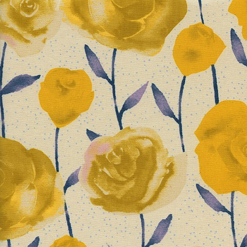 Roses in Yellow UNBLEACHED QUILTING COTTON