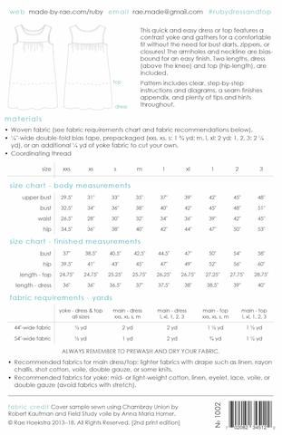 Ruby Top or Dress Pattern