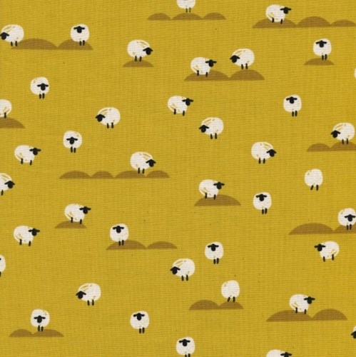 Sheep in Mustard UNBLEACHED COTTON