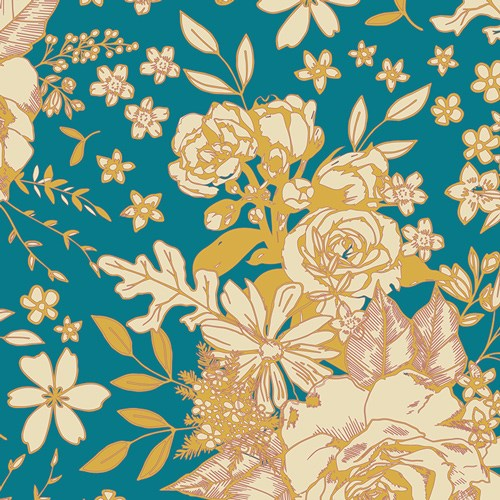 Soulful Floral Universe in Turquiose RAYON