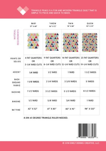 Triangle Peaks Pattern by Quilty Love