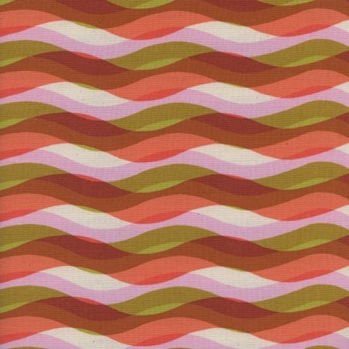 Waves in Peach UNBLEACHED COTTON
