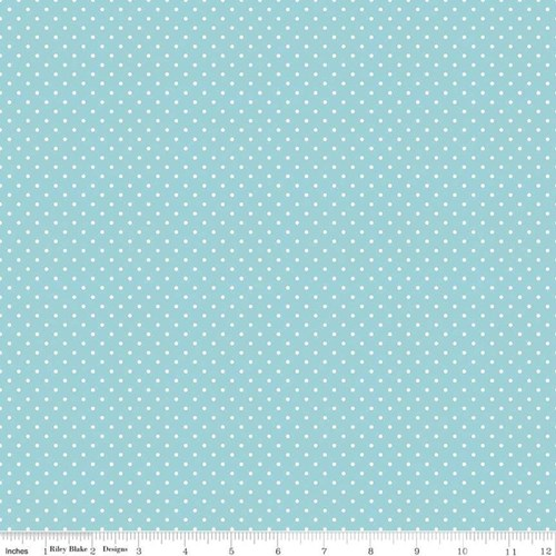 White Swiss Dots in Aqua