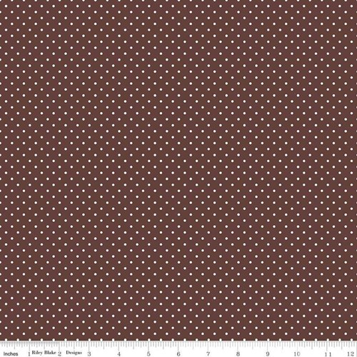 White Swiss Dots - Brown