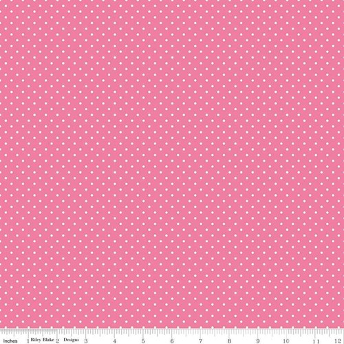 White Swiss Dots - Hot Pink