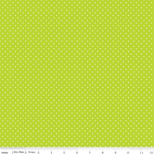 White Swiss Dots in Lime