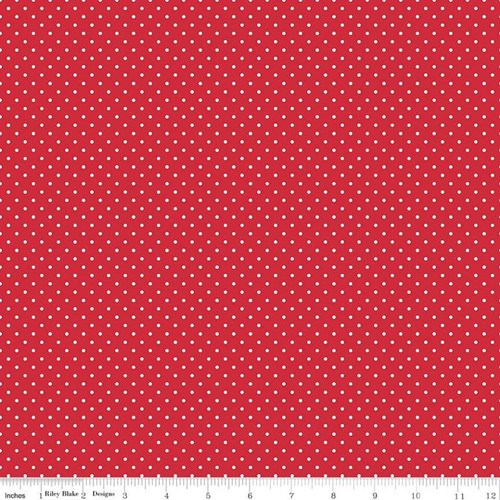 White Swiss Dots - Red
