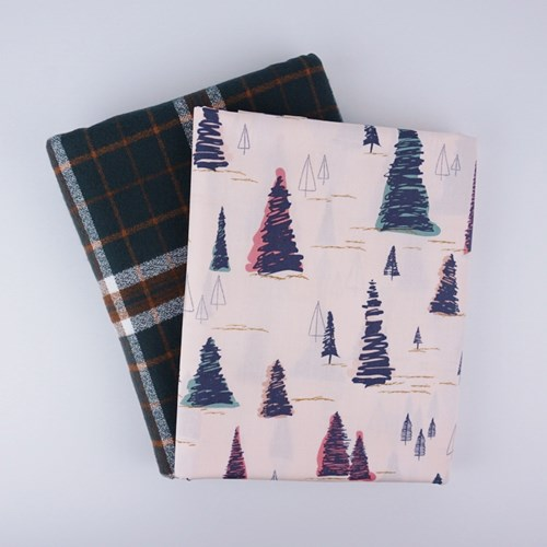 Whole Cloth Quilt Kit - Pinetree in Sparkler and Mammoth Flannel