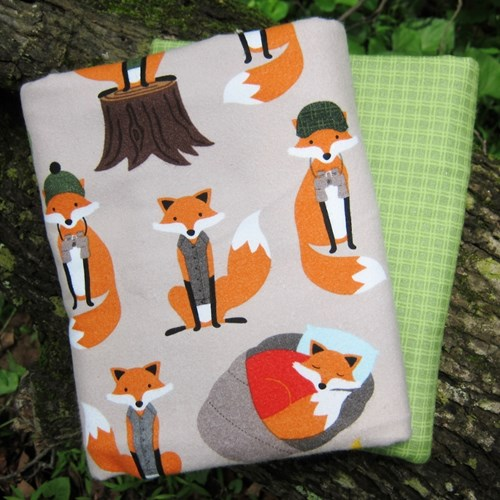 Whole Cloth Quilt Kit - Campsite Critters Camping Foxes Flannel