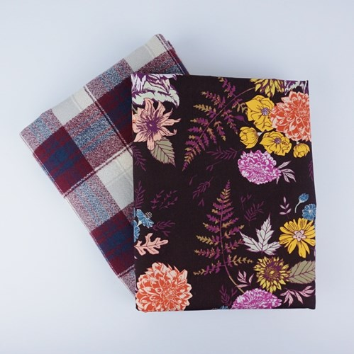 Whole Cloth Quilt Kit - Floral Glow in Cocoa and Mammoth Flannel