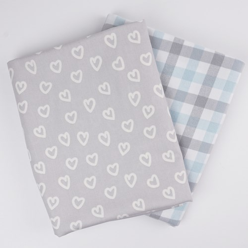 Whole Cloth Quilt Kit - Hearts and Blue Brooklyn Flannel
