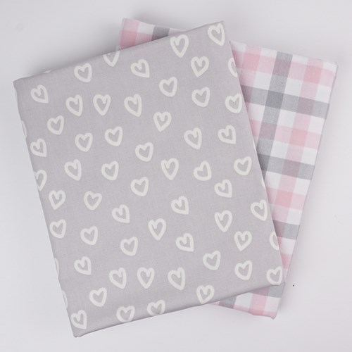 Whole Cloth Quilt Kit - Hearts and Pink Brooklyn Flannel