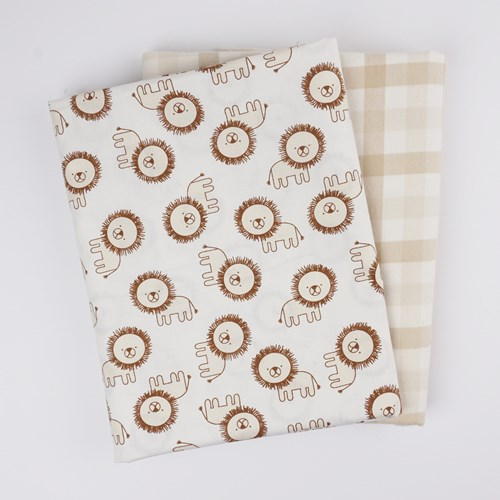 Whole Cloth Quilt Kit - Lions and Brooklyn Flannel