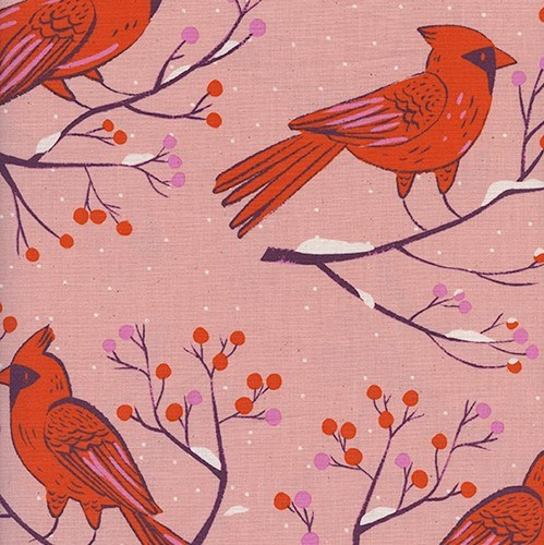 Winter Cardinals in Pink UNBLEACHED QUILTING COTTON