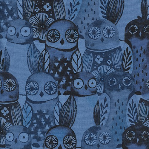 Wise Owls in Blue