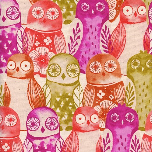 Wise Owls in Fuchsia UNBLEACHED QUILTING COTTON