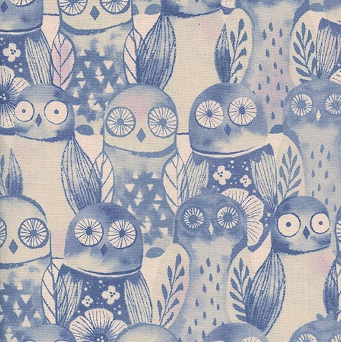 Wise Owls in Lilac UNBLEACHED QUILTING COTTON