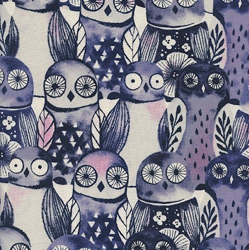 Wise Owls in Night UNBLEACHED QUILTING COTTON