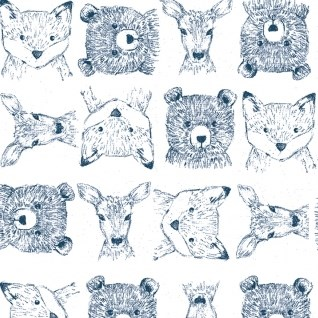 Woodland Critters in White