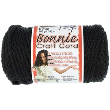 Bonnie Macrame Craft Cord 6mm x 100yd - Black