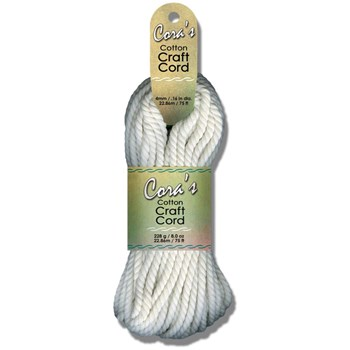 Cora's Cotton Craft Cord 4mm x 75ft - White