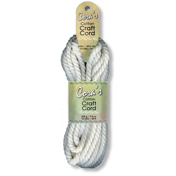 Cora's Cotton Craft Cord 6mm x 50ft - Natural Dyeable Fiber