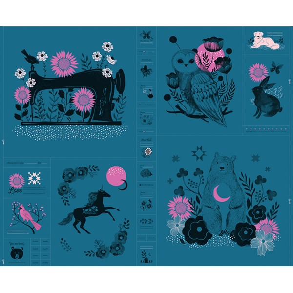 "Crescent Novelty Forest 33"" Panel - Teal"