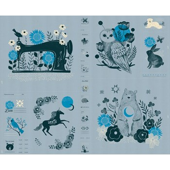 "Crescent Novelty Forest 33"" Panel - Soft Blue"