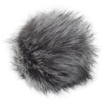 Faux Fur Pom With Loop - Grey Wolf