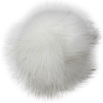 Faux Fur Pom With Loop - White