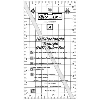 Half Rectangle Triangle Ruler by Bloc Loc - Large