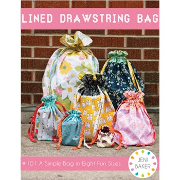 Lined Drawstring Bag Pattern by Jeni Baker