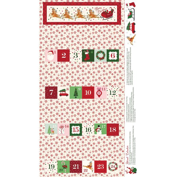 "Merry and Bright Advent 24"" Panel - Cream"
