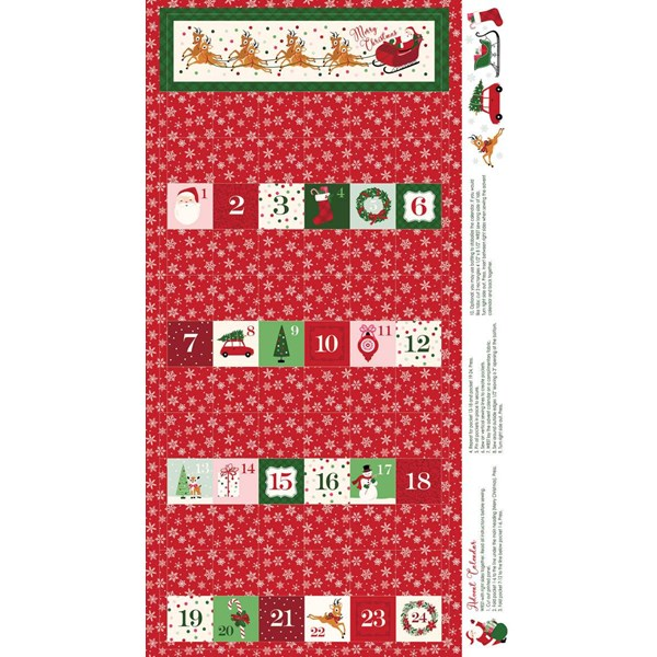 "Merry and Bright Advent 24"" Panel - Red"