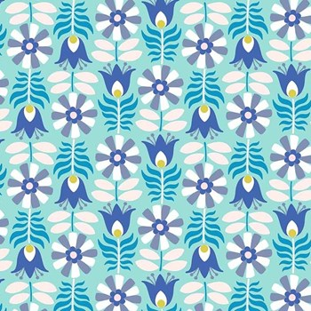 Midsommar Retro Flowers - Blue