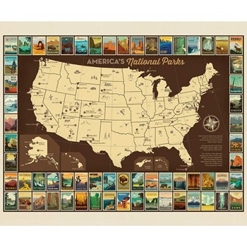 National Parks Poster Panel - USA Map