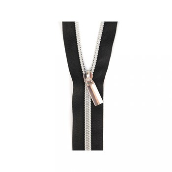 Sallie Tomato 108'' Zipper by the Yard + 9 Pulls - Silver, Black Tape
