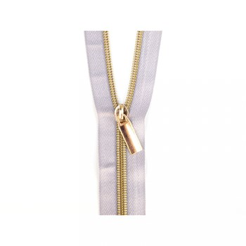 Sallie Tomato 108'' Zipper by the Yard + 9 Pulls - Gold, Grey Tape