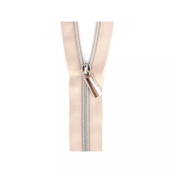 Sallie Tomato 108'' Zipper by the Yard + 9 Pulls - Silver, Beige Tape