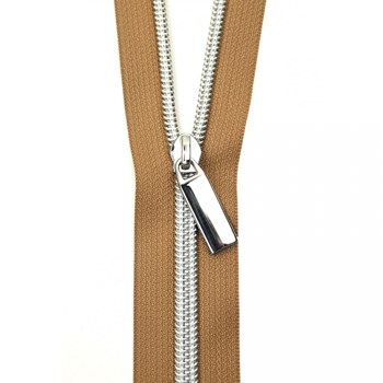 Sallie Tomato 108'' Zipper by the Yard + 9 Pulls - Silver, Natural Tape