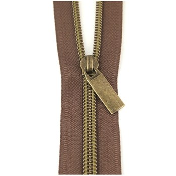 Sallie Tomato 108'' Zipper by the Yard + 9 Pulls - Antique, Brown Tape